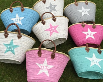 Personalised Straw Bags initials hand painted