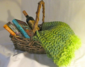 Knitted Throw, Office Wrap - Pesto Green, Gorgeous, Comforting (Under 200 USD)