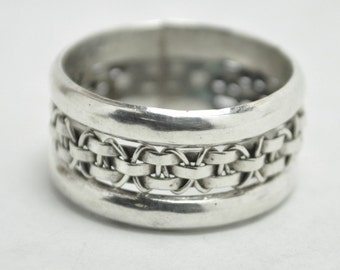 T10E07 Vintage Modernist Style Abstract Braided Rope 925 Sterling Silver Ring Size 9  Mexico