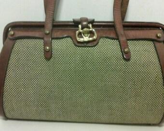 VINTAGE JOHN ROMAIN leather tweed purse handbag