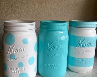 Light Turquoise Mason Jar SET