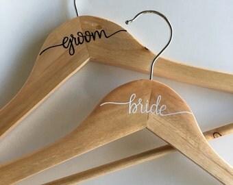 Bride and Groom Hanger Set | Wedding Hanger Set | Bride | Groom | Wedding Gift | Personalized Hanger | Wood Hanger