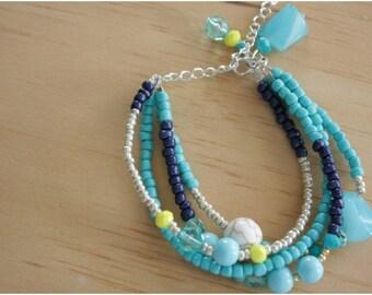 Navy and Light Blue Beaded Bracelet - 05