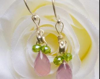 Super Fine Quality Lavender Pink Chalcedony Tear Drop Briolette Earrings / Sterling Silver