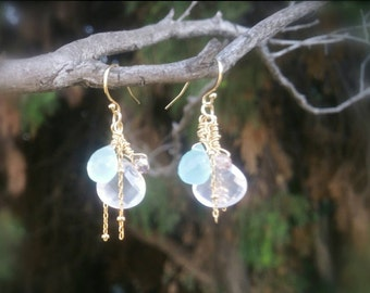 Super Fine Quality Blue Chalcedony and Rose Quartz  Briolette Earrings / 14K Gold filled chain