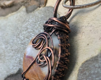 Antiqued copper wire wrap woven jasper necklace