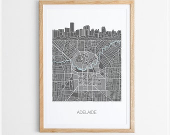 Adelaide City Skyline Map Print / South Australia / Skyline illustration / City Print / Australian Maps / Giclee Print / Poster