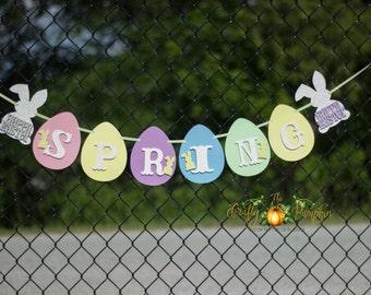 Spring Banner, Easter Banner, Easter Bunny Banner, Holiday Banner