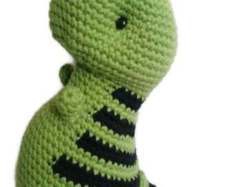 Green T-rex, crochet t-rex,  birthday gift,  crochet dinosaur,  dinosaur, baby shower gift, stuffed animal, amigurumi toy, stuffed dinosaur