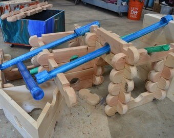 handmade wooden stacking blocks.
