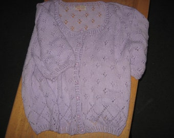 Purple Short Sleeve Cardigan