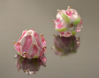 Lampwork flower beads, Handmade lampwork beads, Artisan lampwork beads, Glass Flower beads, Floral glass beads, tender pink