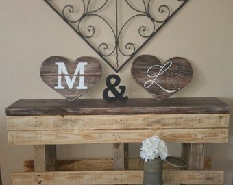 2 Medium hearts and & sign with hand painted letters
