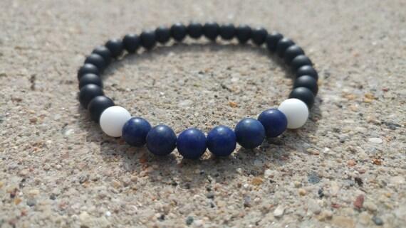 Thin Blue Line Healing Bracelet. Matte Lapis Lazuli, Matte Black Onyx, Matte White Quartz