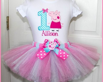 Super Cute Peppa Pig tutu Birthday outfit  Personalized with name