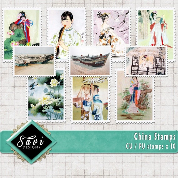 CU Commercial Use CHINA Stamps, Embellishments set of 10 for Digital Scrapbooking or Craft projects, Designer Stock stamps