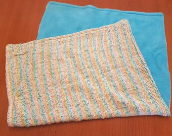 Baby blanket polyester and fleece shower gift two layers