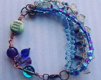 Glittery Affirmation Word Bead Bracelet Cherish Every Moment