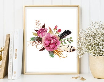 Peony bouquet watercolor print flowers feather pink watercolor wall art print printable floral print watercolor poster home decor nursery