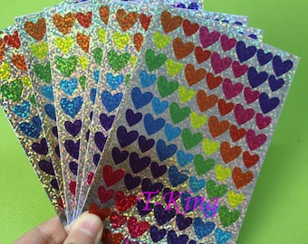 Glitter Heart Stickers / 6 Sheets 504 Hearts / Colourful Bright Heart Labels Seals