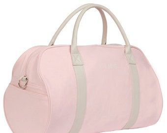 Duffel bag in pink canvas with white leather