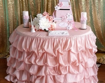 "108"" Ruffle Tablecloth, Blush Ruffled Table Cloth, Blush Ruched Table Cloth, Custom made"