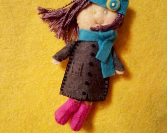 Doll brooch,  Felt brooch, Gingermelon doll,  Fantasy doll,  Girls toy, Autumn brooch,  Miniature doll