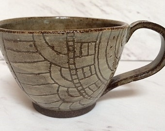 Handmade, hand-carved ceramic mug, rustic stoneware pottery mug