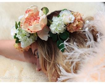 Peaches n Dream   Snowball  Peony & Rose Flower Crown   Flower Hairband   Bridal Flower Circlet   Festival Flower Crown   Lana del Rey