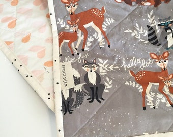 Modern Wholecloth Baby Quilt-Hello Bear Quilt-Fox Bear Racoon Hearts-Modern Baby Quilt-Baby Quilt Blanket-Handmade Baby Quilt