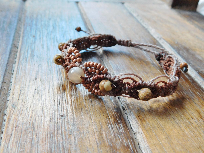 Dusty pink / Brown macrame bracelet with Jasperperlen
