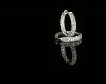 Earrings of gold 14 k white diamonds 2.10 CT