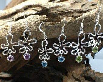 Freeform sterling silver earrings with semi precious stone