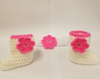Hot Pink and White Crochet Bootie and Headband Set