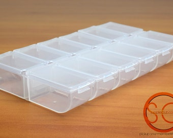 Plastic Compartment with 12 opening, best use to store small items, beads or seed beads  (0002)