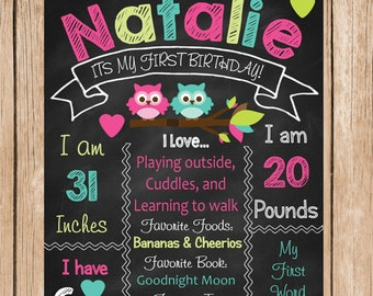 Cute Owl Birthday Chalkboard