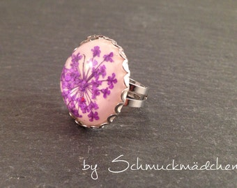 Ring silver dill flower purple