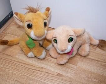 Disney the lion king purring Simba and Nala Stuffed animals