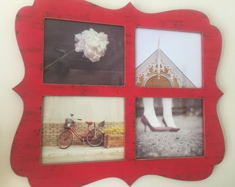 Still Life Photography Collage in Red Shabby Chic Frame