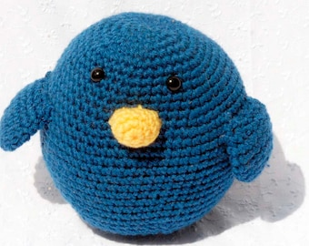 Crochet Blue Bird, Amigurumi Stuffed Animal, Hand Made Soft Toy, Blue Stuffed Bird with Snap On Safety Eyes