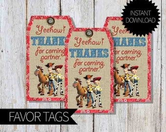 Toy Story Birthday Party PRINTABLE Favor Tags- Instant Download | Toy Story WESTERN | Woody & Jessie| Cowboy | Cowgirl