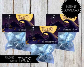 Nightmare before Christmas Party PRINTABLE Folding Treat Bag Tags- Instant Download | Disney | Tim Burton| Halloween | Jack Skellington|