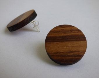 Teak wooden earrings (studs)