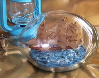 Vintage Ship in a Bottle Haig Dimple Whisky Bottle