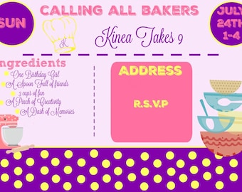 Baking Party Invitation and Thank You Card/Digital
