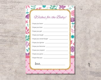 Flower Pink Baby Shower Game Wishes Printable, gold glitter purple mint green, instant download, baby shower wishes, wishes for the baby