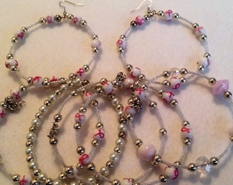 5 Piece Breast Cancer Bracelet Set and Earrings