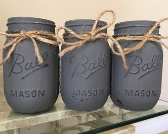 Distressed Mason Jars in Charcoal