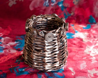 Trinket/Jewellery/Decorative container hand made from recycled magazines