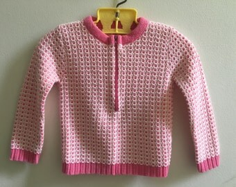 Vintage Babygirl  Pink and White Sweater Zip Up 6-12 months